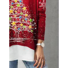 Nadruk Okrągły dekolt Długie rękawy Casual Boże Narodzenie Dzianina Bluzki