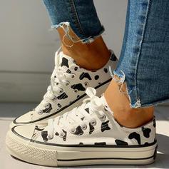 Mulheres Lona Casual Outdoor com Animal da Cópia Aplicação de renda sapatos