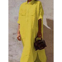 Solid Long Sleeves Shift Shirt Casual Maxi Dresses
