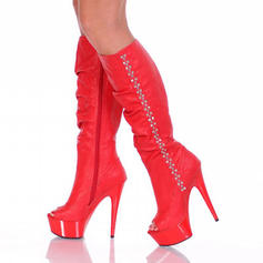 Women's Stiletto Heel Pumps Platform Boots Peep Toe Knee High Boots With Rhinestone Zipper shoes