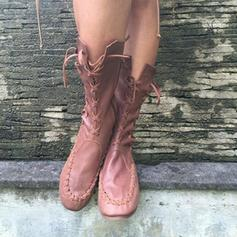 Frauen PU Flascher Absatz Flache Schuhe Stiefel Stiefel-Wadenlang mit Reißverschluss Zuschnüren Schuhe