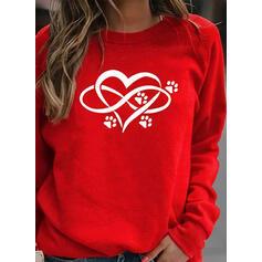 Animal Print Heart Round Neck Long Sleeves Sweatshirt