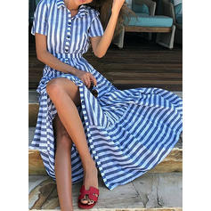 Striped Short Sleeves A-line Maxi Casual/Vacation Dresses