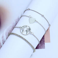 Heart Shaped Alloy Women's Fashion Bracelets (Set of 4)