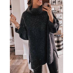 Solid Plain Turtleneck Casual Sweaters