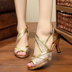 Women's Latin Sandals Pumps Leatherette Mesh Latin
