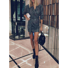 Sequins 3/4 Sleeves Bodycon Above Knee Little Black/Party/Elegant Dresses