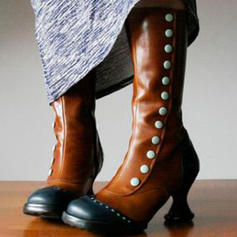 Women's Leatherette Spool Heel Mid-Calf Boots With Rivet Zipper shoes