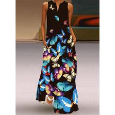 Imprimeu/Hayvan Kolsuz Shift Elbiseleri gündelik Maxi Elbiseler
