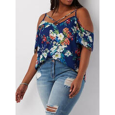 Print Floral Cold Shoulder 1/2 Sleeves Casual Plus Size Blouses