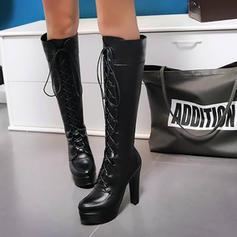 Frauen PU Stämmiger Absatz Absatzschuhe Plateauschuh Stiefel Kniehocher Stiefel mit Reißverschluss Zuschnüren Schuhe