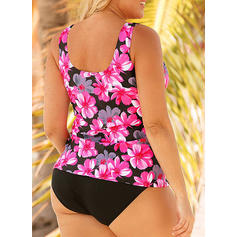 Floral U Neck Sexy Plus Size Tankinis Swimsuits