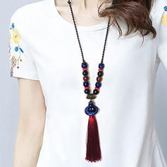 Fashionable Alloy Ceramic With Tassels Women's Fashion Necklace