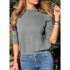 Jednobarevný Flitry Kulatý Výstřih Dlouhé rukávy Neformální Bluze