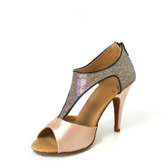 Women's Latin Heels Sandals Satin Sparkling Glitter With T-Strap Latin