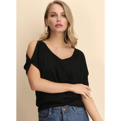 Solide Cold Shoulder 1/2 Mouwen Casual Polka Prik Blouses