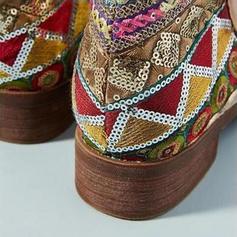 Vrouwen Kunstleer Low Heel Laarzen met Satijnen Strik Rits schoenen