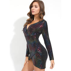 Sequins Long Sleeves Bodycon Above Knee/Asymmetrical Casual Dresses