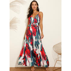 Print/Floral/Backless Sleeveless A-line Slip/Skater Sexy/Party/Vacation Maxi Dresses