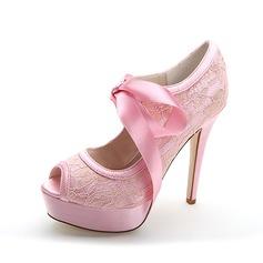 Kvinnor Spets Stilettklack Öppen tå Pumps Sandaler med Bandage