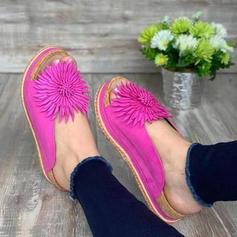 Vrouwen PU Flat Heel Sandalen Flats Peep Toe met Bloem schoenen