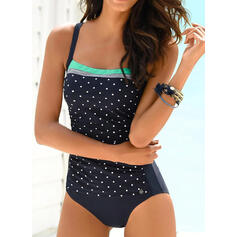 Dot Print Strap Elegant Attractive One-piece Swimsuits