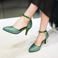 Women's PU Stiletto Heel Pumps Closed Toe With Sequin shoes