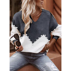 Color Block Beaded V-Neck Casual Sweaters