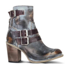 Donna PU Tacco spesso Stiletto Punta chiusa Stivali con Fibbia Cerniera scarpe