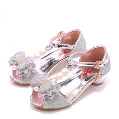 Girl's Microfiber Leather Low Heel Peep Toe Pumps With Beading Bowknot Buckle Rhinestone Sparkling Glitter