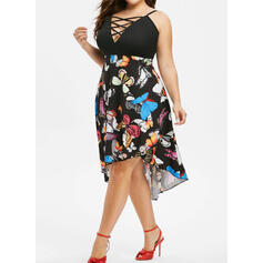Floral Sleeveless Sheath Above Knee Casual/Plus Size Dresses