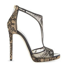Bayanlar Dantel Topuklu ayakkabı Sandalet Pompalar Ile Oymak ayakkabı