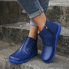 Women's PU Flat Heel Boots With Zipper shoes