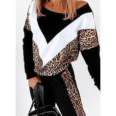 Leopardo Trozos de color Deportivo Casual Tallas Grande sudaderas & Conjuntos de dos piezas establecer