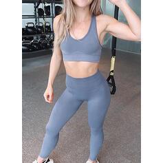 Cinta Decote em U Sem mangas Cor sólida Leggings Esportivas Sutiãs esportivos Yoga Sets