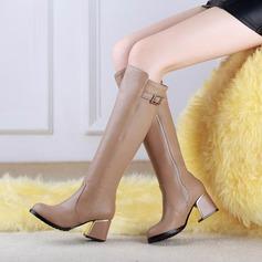 Mulheres Couro Salto robusto Bota em cima do joelho com Strass sapatos