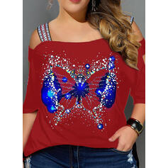 Animal Print Cold Shoulder 3/4 Sleeves Casual Plus Size Blouses
