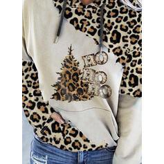 Print Leopard Figur Lommer Lange ærmer Jule sweatshirt