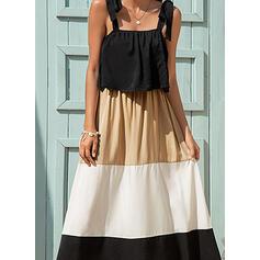 Color Block Sleeveless A-line Skater Casual Midi Dresses