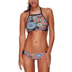 Kolmio riimu korkea kaulus Urheilu Plus-koko Bikinit Uima-Asut