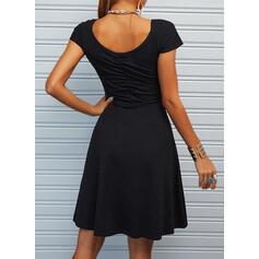 固体 ノースリーブ シースドレス 膝上 リトルブラックドレス/カジュアル/エレガント ドレス