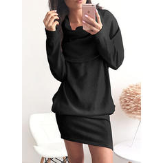Solid Long Sleeves Shift Above Knee Dresses
