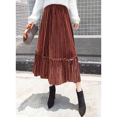 Terciopelo Color sólido Midi Faldas Plisadas