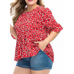 Leopard Round Neck Flare Sleeve 1/2 Sleeves Casual Elegant Plus Size Blouses