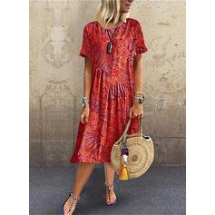 Print/Floral Short Sleeves Shift Tunic Casual Midi Dresses