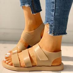 Women's PVC Flat Heel Sandals Peep Toe Slippers With Velcro shoes