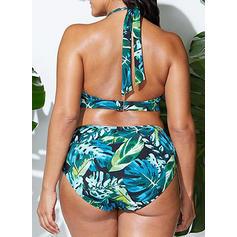 Listy Ke krku Sexy Plus mărimea Bikiny Costume de baie