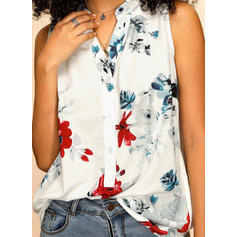 Print Floral V Neck Sleeveless Button Up Casual Tank Tops