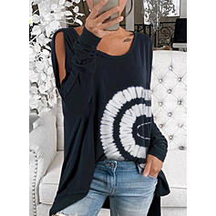 Print Cold Shoulder Long Sleeves Casual Blouses