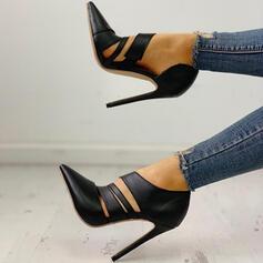 Mulheres Camurça PU Salto agulha Bombas sapatos